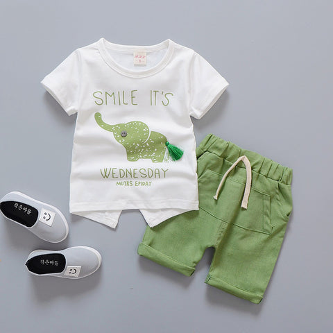 Baby Boy Summer Brand Infant Clothing Elephant Short Sleeved T-shirts Tops Striped Pants Kids Bebes Jogging Suits
