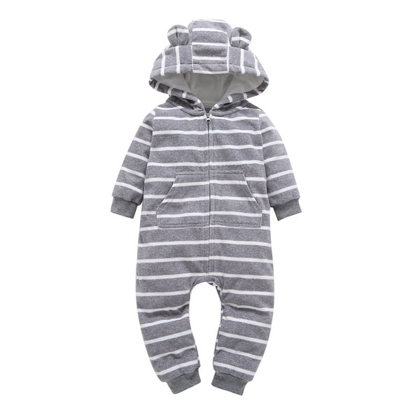 Hooded Rompers Fleece Long Sleeve with Zipper and kids Bebes One-pieces Clothes COTTON Overalls 1