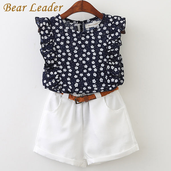 New Summer Casual Children Sets Flowers Blue T-shirt+  Pants Girls Clothing Sets Kids Summer Suit For 3-7 Years