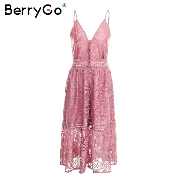 sexy lace women Strap button casual white dress