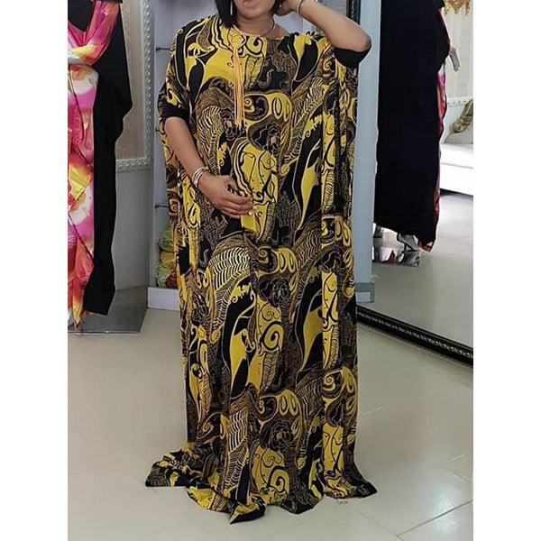 Big Size Summer Party Women Long Dresses Casual Oversize Sleeve Vintage Maxi Dress