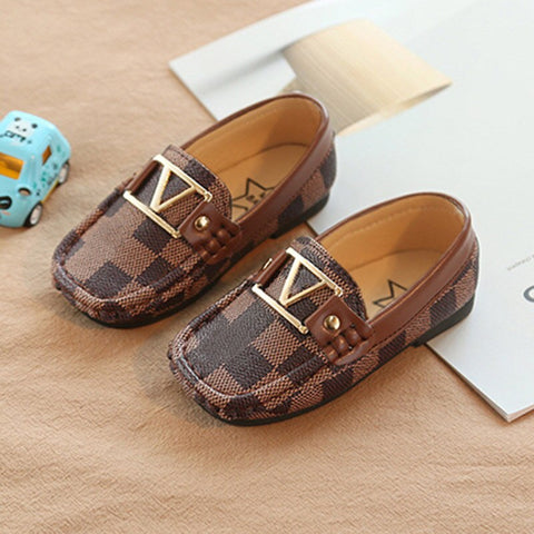 Brand Plaid Kids Shoes Loafers with logo Patch Anti-slippery Rubber Bottom Boys Girls Casual Leather Shoes Children Dress Shoes
