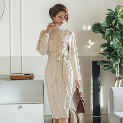 Casual Winter Dress Turtleneck Knitted Thick Sweater Dress Warm Women Cotton bodycon pencil Stretch Dress