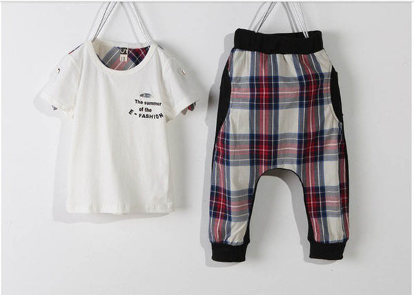 Summer Letter Print Cotton T-Shirt + Lattice Casual Trousers Toddler Boys Clothes Kids Sportswear