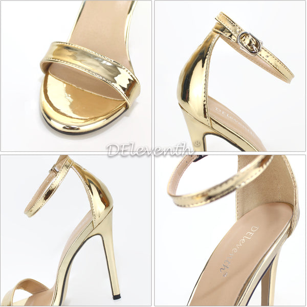 Woman Sexy Peep Toe Stiletto High Heel Shoes Sandals Party Dress Gold Silver Wedding Shoes