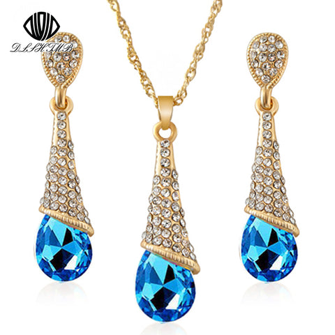Long Blue Crystal Earrings Necklace Set  Elegant Lady Jewelry