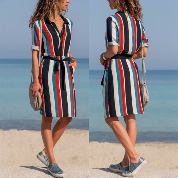 Women Summer Striped Shirt Dress Ladies Casual Long Sleeve Loose Beach Dresses 2018 Autumn Fashion Print Dress Vestido