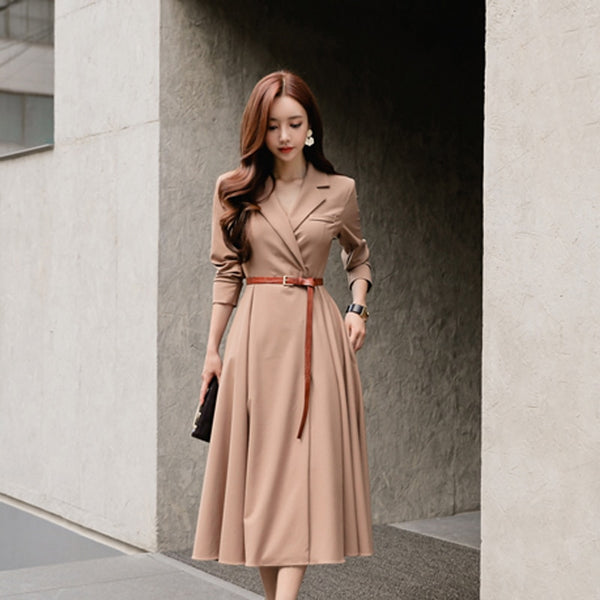 Elegant V-neck Women A-line Dress Casual Sashes Pleated Patry Vestidos femme Autumn Winter