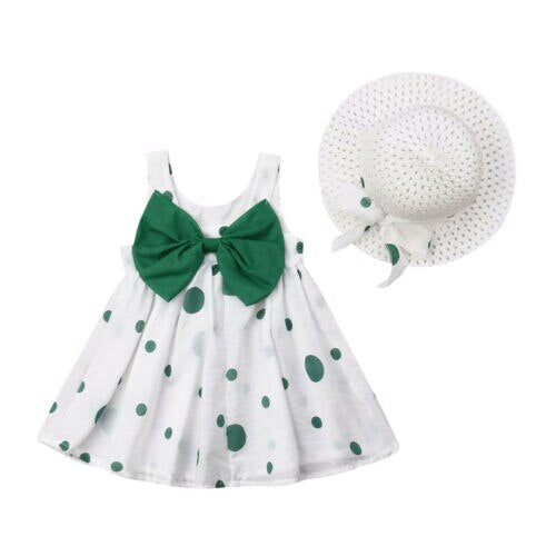 Baby Kids Girls Dress Dot Bowknot Dresses+Hat Casual Party Sundress Clothes 6M-3Y