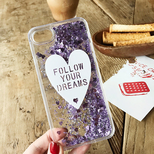 Fashion Lovely heart bling glitter Liquid quicksand Phone Case For iphone 6 6s 5 7 8 Plus cover for samsung galaxy S7 S6 edge S8