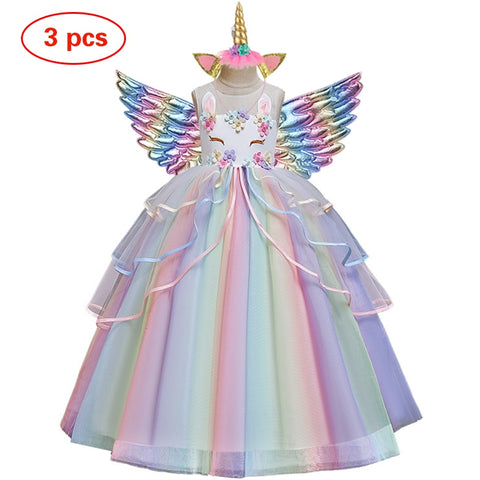 Flower girl Unicorn rainbow wedding party and  birthday party  dress