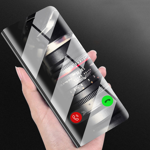 For Samsung Galaxy Note 8 S8 S7 S6 edge Case Luxury Flip Stand Clear View Smart Mirror Phone Case For iphone X 7 6 6s Plus Cover