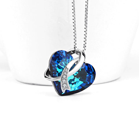 Sterling Silver Blue Heart of Ocean Pendants Necklaces With Crystal Chain Necklace For Women