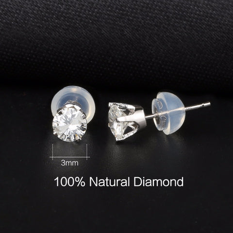 Natural Diamond Stud Earrings 14K White Gold Diamond Jewelry For Women