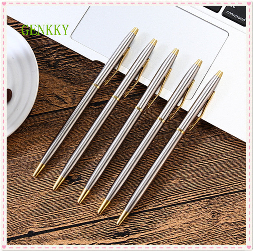 Stainless steel rod rotating Metal ballpoint Pen Stationery Ballpen 0.7mm Blue Black ink Office & School Supplies