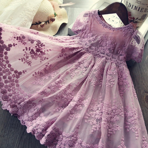 Mesh Casual Lace Embroidery Princess Baby Girl Summer Sleeveless Dress