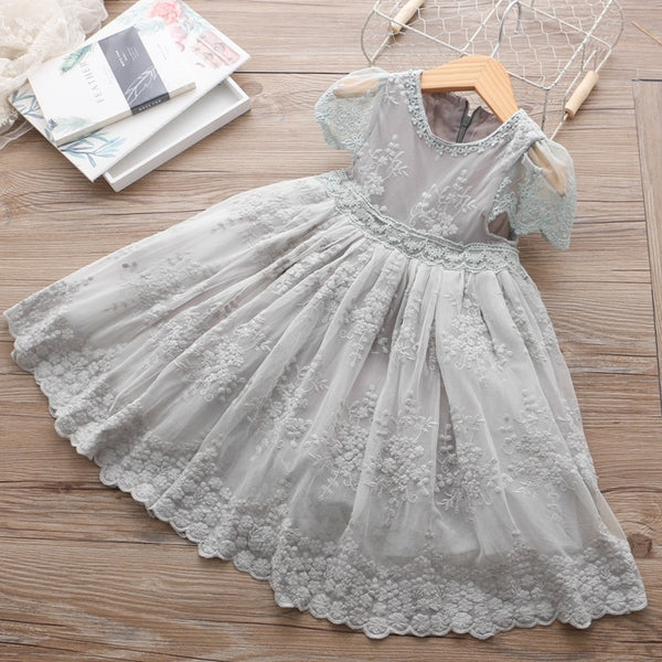 Mesh Casual Lace Embroidery Princess Baby Girl Summer Sleeveless Dress  1