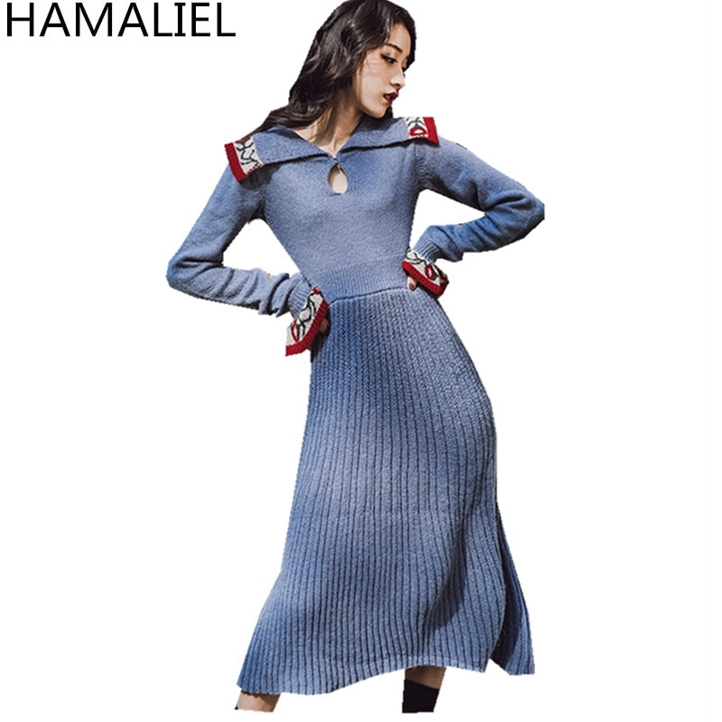 Vintage Winter Women Blue Knitted Sweater Midi Long Flare Sleeve Embroidery Floral Knitting Wool Long Dress