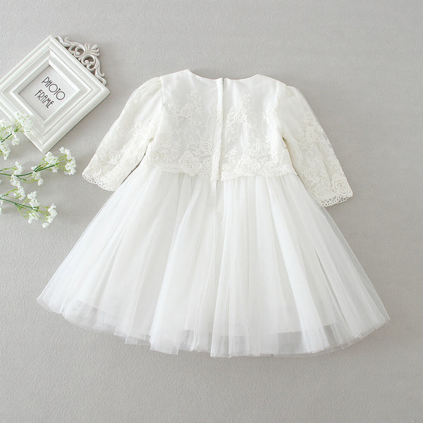 White Lace Long-sleeve Baby Dress Christening/Baptism with Hat, Hot Selling Baby Girl 1st 2nd Birthday Dresses Party