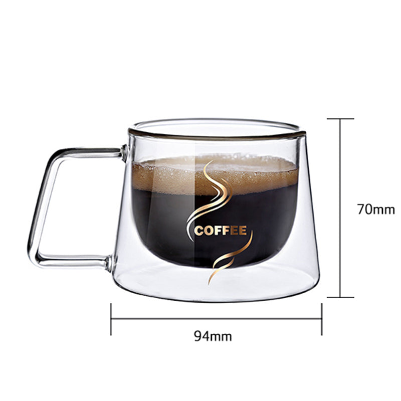 Double Glass Coffee Mug with Handle As Gift for Boy and Girl American style Cup