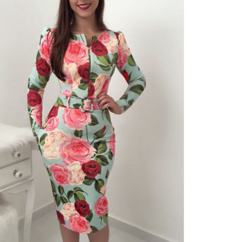 Women Bandage Bodycon Casual Long Sleeve Zipper Evening Party Midi Dress Floral Suits