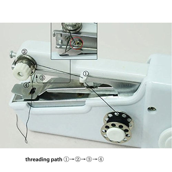 Handheld Sewing Machine Mini Portable Handy Electric Household Quick Stitch Tool for Repair Fabric Clothes with Threads Needles
