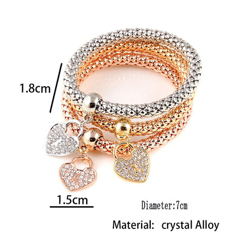 3pcs/set Fashion Heart Shape Charm Bracelet Female Rhinestone Elastic Zinc Alloy Rose Gold/silver Plated Bracelet PopCorn Chain