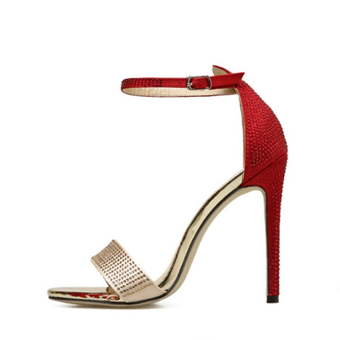 2018 Summer Rome Colorblock Buckle Pumps Women Sandals sexy High Heels  Shoes