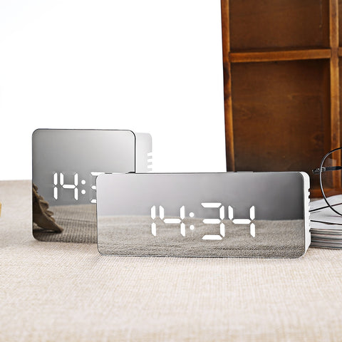 Hot Multifunction LED Mirror Alarm Clock Digital Clock Snooze Display Time Night Led Light Table Desktop Alarm Clock Despertador