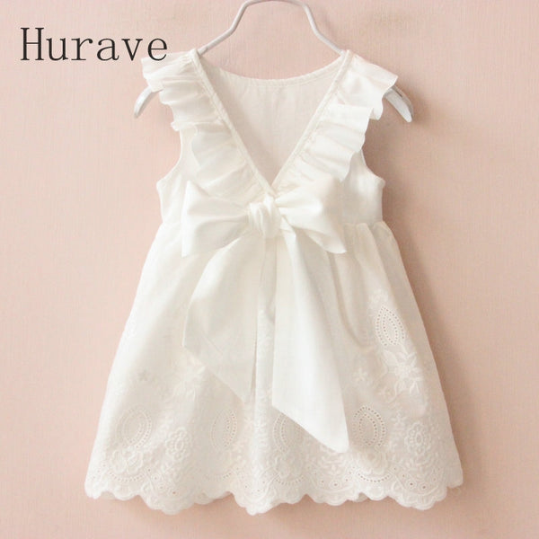 Solid White Girl Dresses  Summer Style Children's Clothing Dresses For Girl Vestido Infant Girl Clothes