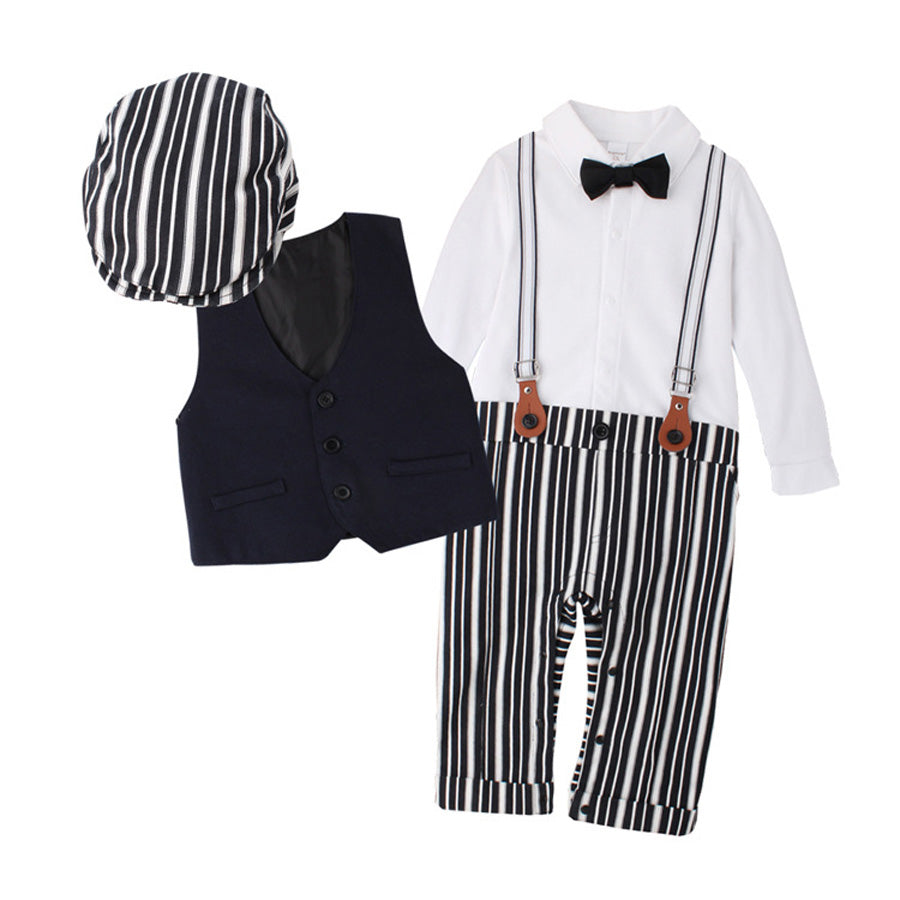 Newborn Boy Clothing Sets Top Quality Cotton Gentleman Spring Fashion Rompers + Vest + Hat Autumn Baby Clothes