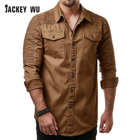 Denim Jeans Shirts Casual Long Sleeve Chest Pocket Camisas Hip Hop