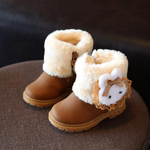 Children's Winter Boot New Fashion Girl PU Snow  Sneakers Waterproof Rubber Botas Infantis