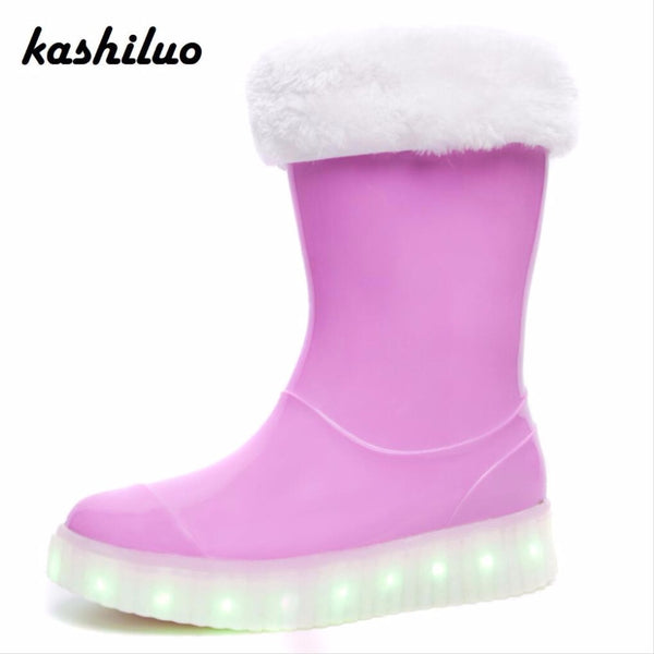 kids recharged glowing boys girls  winter rubber boot warm galoshes