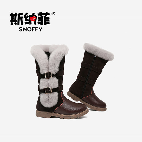 Children Boots Real Rabbit Fur Girls High Warm Boots Outdoor Brand Shoes