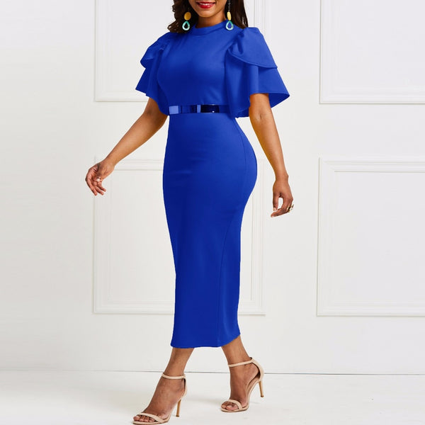 women office dress ladies yellow dress working girl ruffle zipper plus size evening summer bodycon midi dress