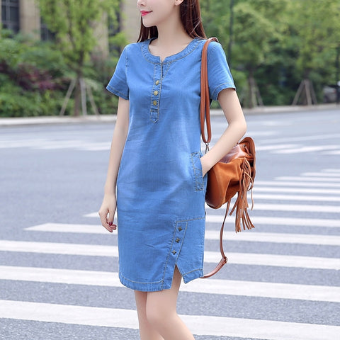 New Summer Casual Jeans Dress With button Pocket Sexy Denim Mini Dress Plus size