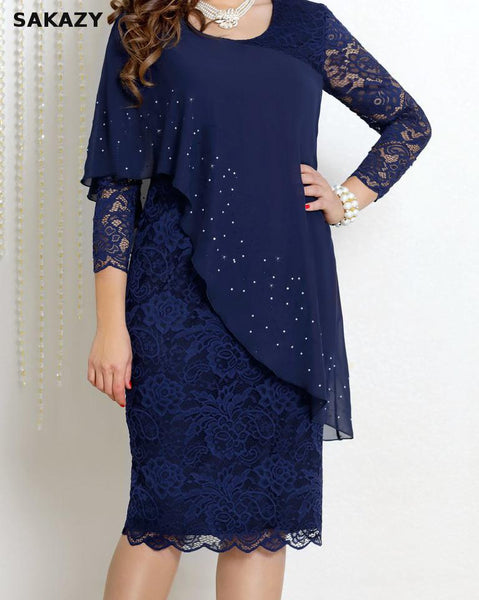 Summer Solid Lace Slim Party Chiffon Plus Size Dress Women Vestidos 5xl