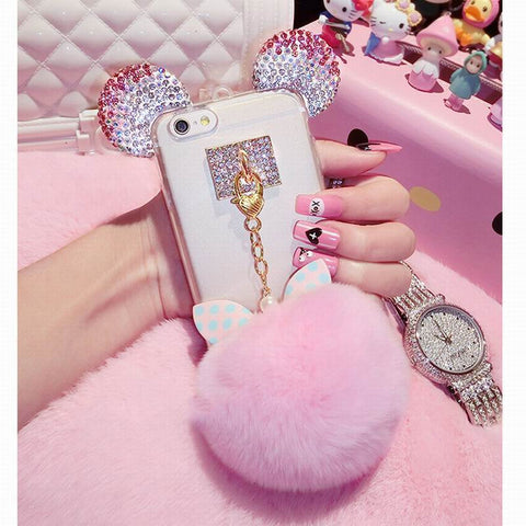 Luxury 3D Crystal Cute Mice Ear Head Bowknot Fur Ball Phone Cases For iPhone 7 6 6s Plus SE 5 5s Clear Soft TPU Back Cover