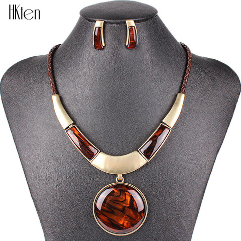 Fashion Brand Jewelry Sets Round Pendant 5 Colors Faux Leather Rope High Quality