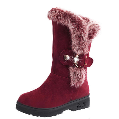 Children Boots Thick Warm Cotton-Padded Suede Buckle Girls Snow Boots
