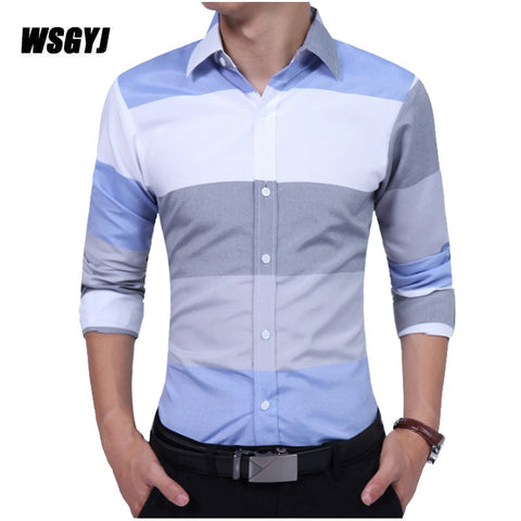 Fashion Male Long-Sleeves Tops Large Striped Casual Dress Shirts Slim Fit