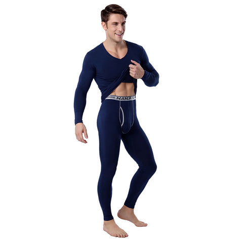 Men's Cotton Winter Underwear Long Thermal Pants Mens V Neck Thermo Underwear Sexy Black Thermal Underwear Sets