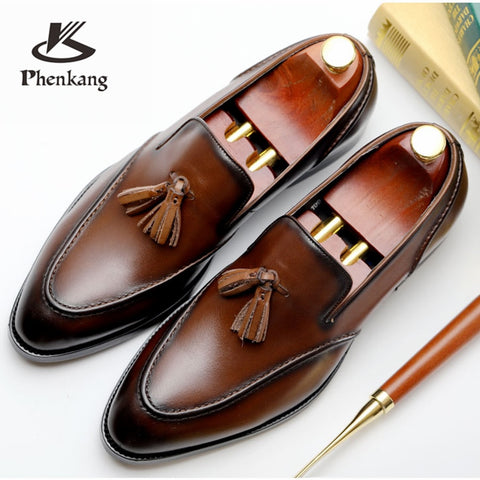 Men's natrual leather business dress suit shoes men brand Bullock genuine leather black tassel shoes