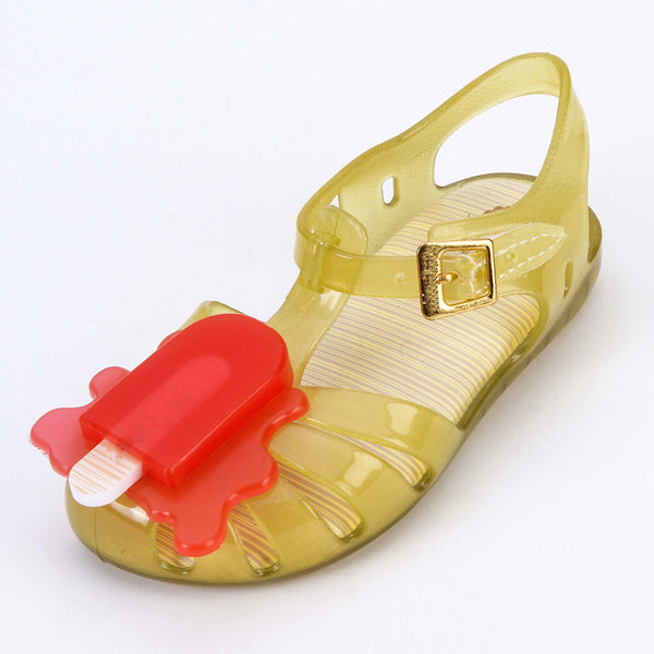 Slingback Sandal Ice-lolly Style Girls Sandals Soft  PVC Hook Loop Girls Shoes Summer Size 8-13