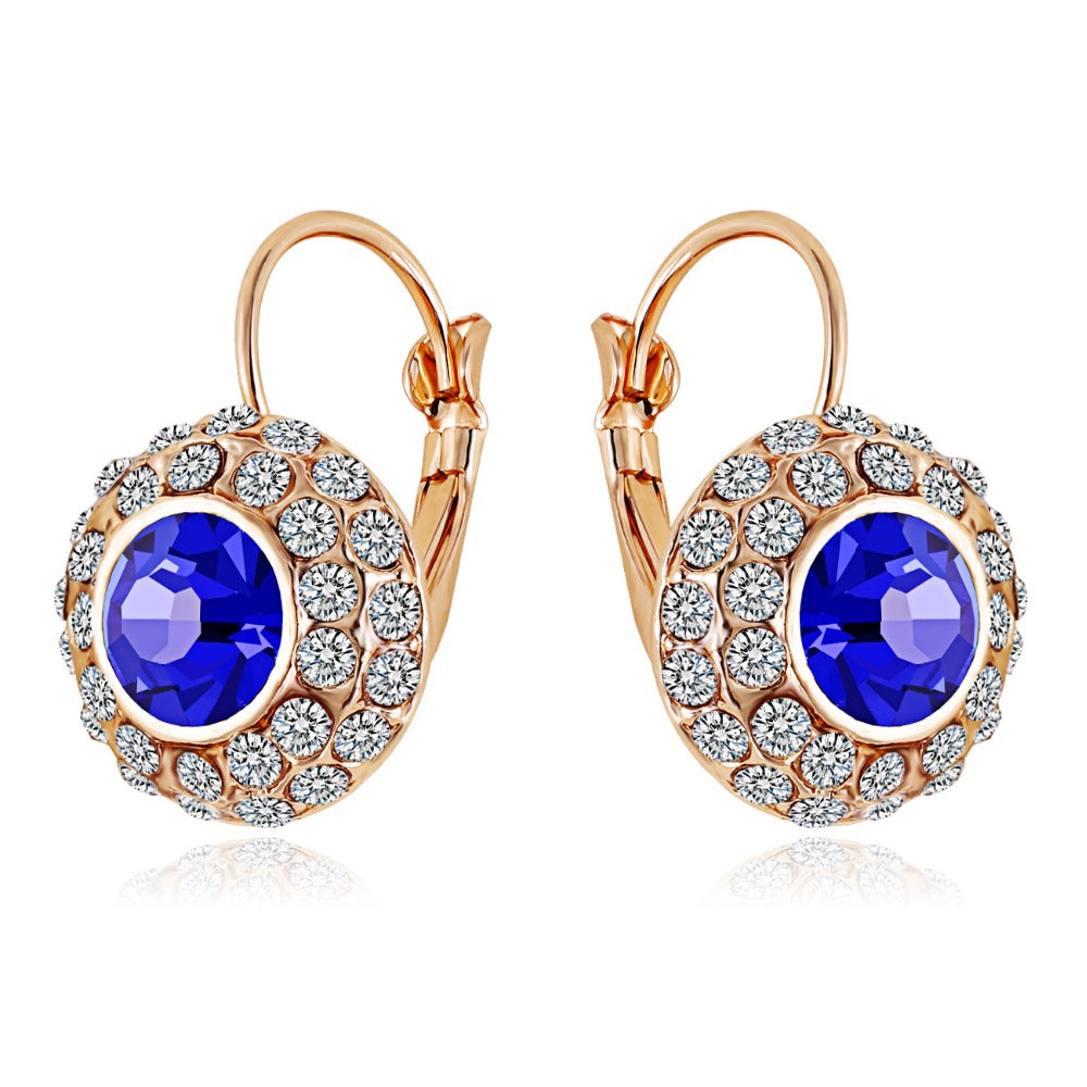 1c1fd549a Gold color Austrian Crystal korean Fashion Simulated blue jewelry Round  Dangle drop earrings for women ...