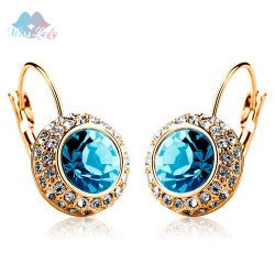 Gold color Austrian Crystal korean Fashion Simulated blue jewelry Round Dangle drop  earrings for women