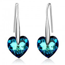 Gold color  Crystal Romantic Heart drop earrings jewelry earrings  for women