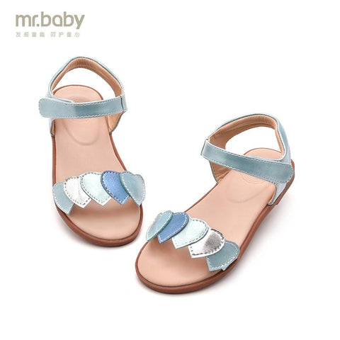 summer fashion color block decoration heart child princess sandals