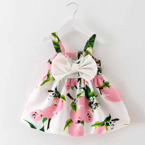sleeveless print bow dress 2018 summer girls baby clothing cool cotton party princess dresses